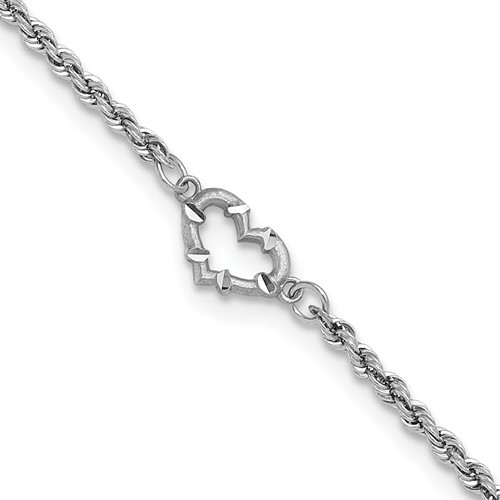 14kt White Gold 10in Rope Anklet with Heart