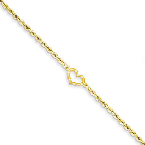 14kt Yellow Gold 10in Rope Anklet with Heart
