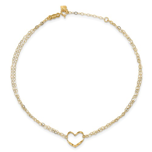 14kt Yellow Gold 9in Double Strand Anklet with Heart