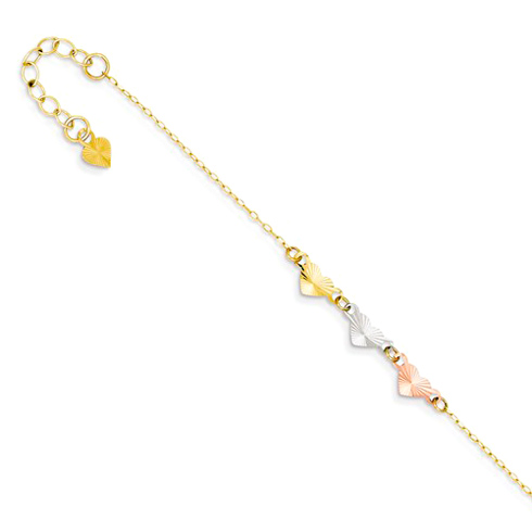 14kt Tri-color Gold 9in Heart Anklet