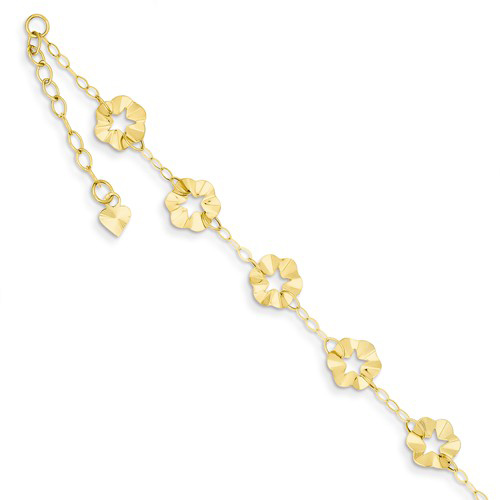 14kt Yellow Gold 9in Polished Flower Charms Anklet
