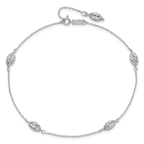 14kt White Gold 9in Anklet with Rice Bead Charms
