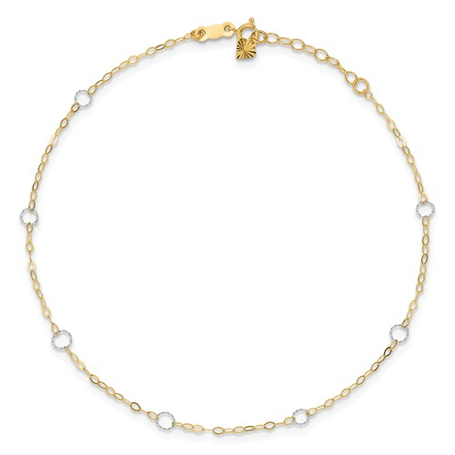 14kt Two-tone Gold 9in Circle and Oval Link Anklet