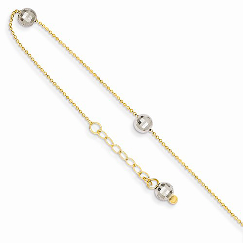 14k Two-tone Gold 9in Mirror Ball Beaded Anklet