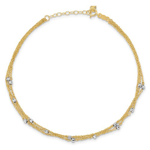 14kt Two-tone Gold 9in Triple Strand Anklet