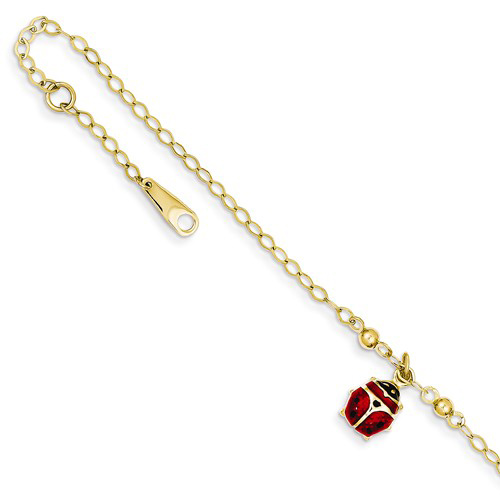 14kt Yellow Gold 10in Adjustable Enameled Ladybug Anklet