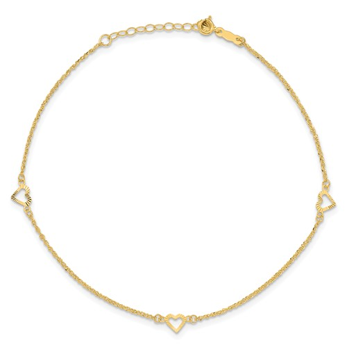 14kt Yellow Gold 10in Rope Anklet with Petite Cut out Hearts