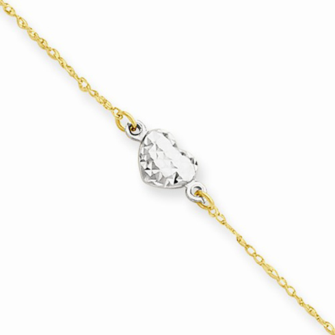 14kt Two-tone Gold 10in Puff Heart Anklet