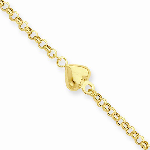 14kt Yellow Gold 10in Rolo Anklet with Puff Heart Charms