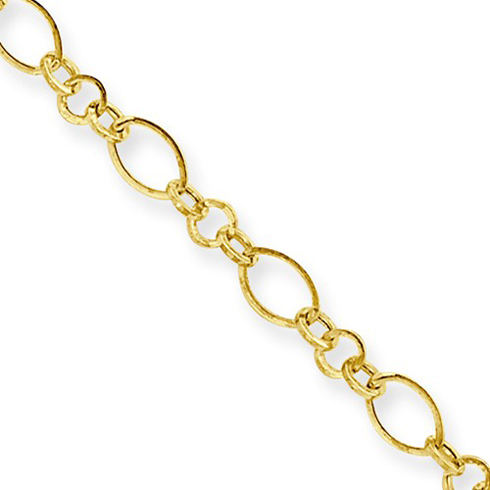 14kt Yellow Gold 10in Fancy Oval Hoop Link Anklet