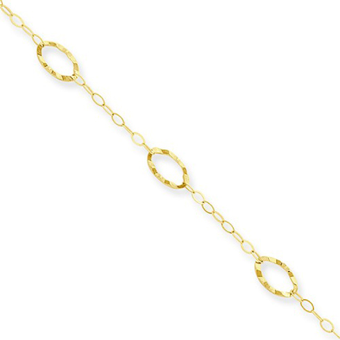 14kt Yellow Gold 9in Anklet with Fancy Oval Charms