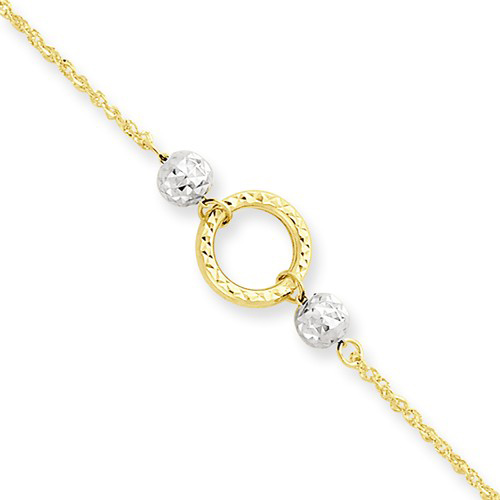 14k Two-tone Gold 10in Circle and Bead Rope Anklet