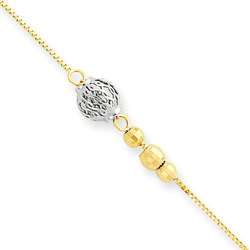 14k Two-tone Gold 10in Diamond-cut Beads Anklet