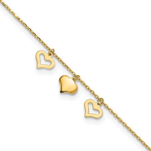 14kt Yellow Gold 10in Rope Anklet with Three Heart Charms