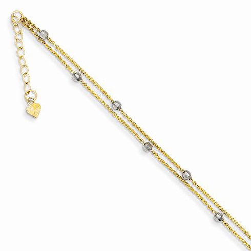 14K Two-tone Gold 9in Two Strand Spiga Mirror Beads Anklet