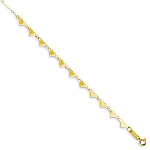 14kt Yellow Gold 9in Oval Link Chain with Hearts Anklet