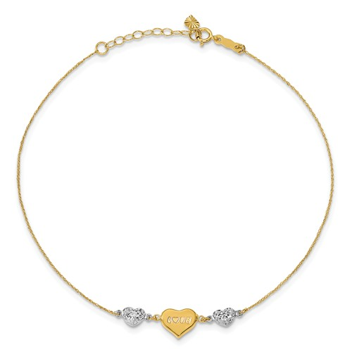 14kt Two-tone Gold 9in Puffed Heart LOVE Anklet
