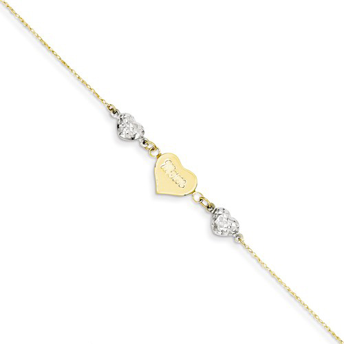 14kt Two-tone Gold 9in Puffed Heart MOM Anklet