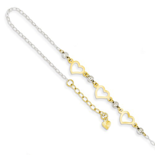 14kt Two-tone Gold Beads and Heart Anklet with Oval Links