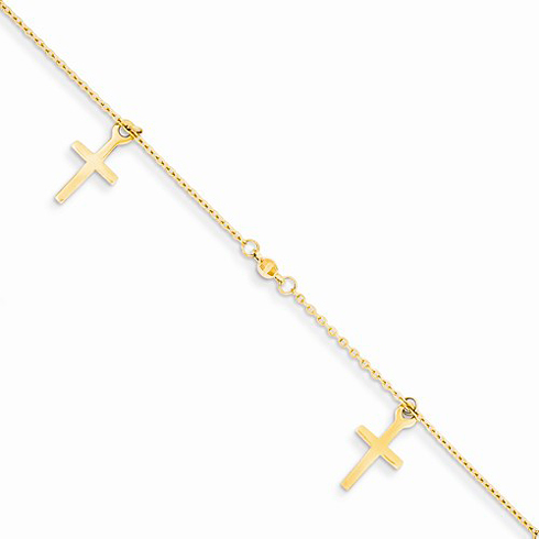 14kt Yellow Gold 9in Polished Cross Charms Anklet