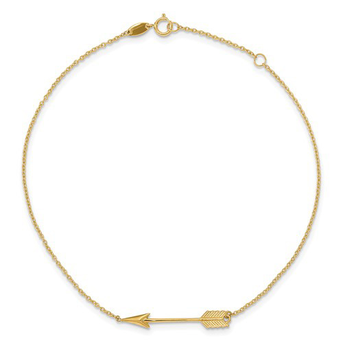 14kt Yellow Gold 9in Arrow Charm Anklet
