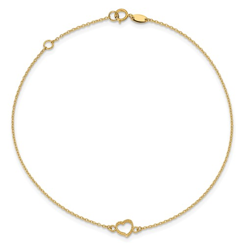 14kt Yellow Gold 10in Textured Heart Anklet