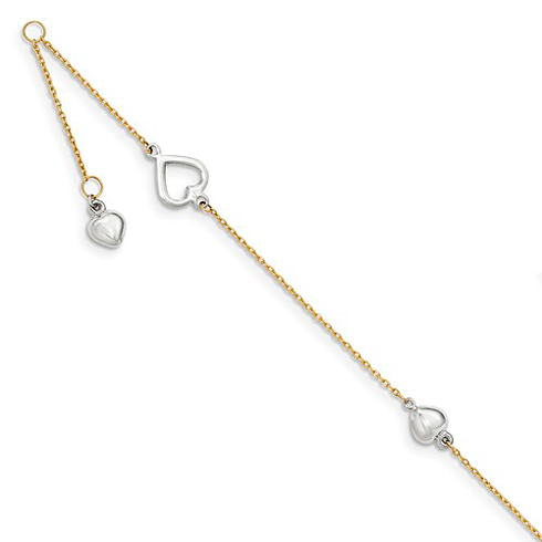 14kt Two-tone Gold 10in Polished Hearts Anklet