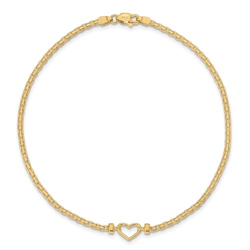 14kt Yellow Gold 9in Anklet with Open Heart Charm