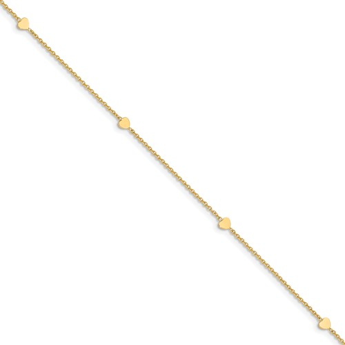 14k Yellow Gold Italian Anklet with Four Solid Heart Charms 10in