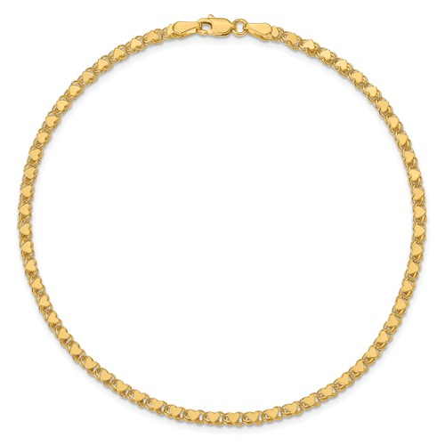 14k Yellow Gold Heart Link Anklet 10in