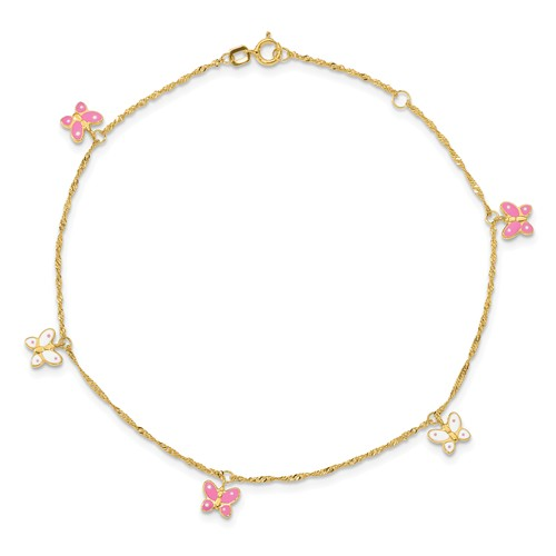 14kt Yellow Gold 10in Anklet with Pink and White Butterflies
