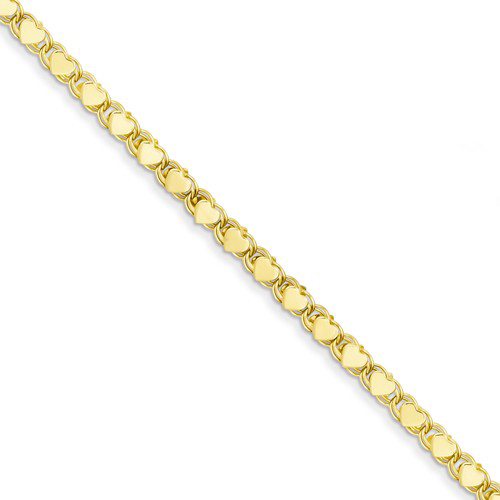 14kt Yellow Gold Polished Double-Sided Heart Anklet