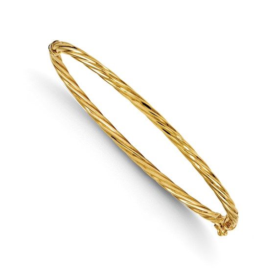 14kt Yellow Gold Italian Hinged Twisted Classic 7in Bangle