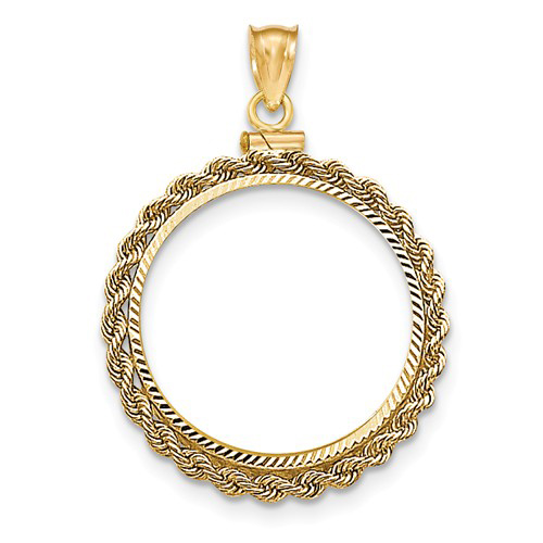 14kt Yellow Gold Handmade Rope Screw Top Bezel for 1/2 Oz American Eagle Coin