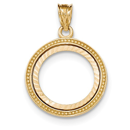 14kt Gold Beaded Prong Set Bezel for 1/10 Oz American Eagle Coin