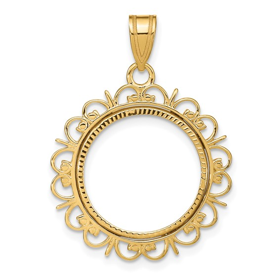 14kt Yellow Gold Fancy Prong Set Bezel for 1/10 Oz American Eagle Coin
