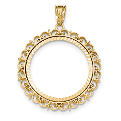 14kt Yellow Gold Fancy Prong Set Bezel for 1/2 Oz American Eagle Coin