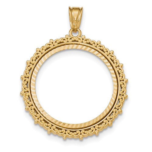 14kt Yellow Gold Floral Prong Set Bezel for 1/2 Oz American Eagle Coin