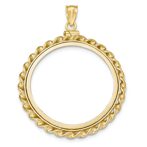 14kt Yellow Gold Twisted Wire Screw Top Bezel for 1 oz American Eagle Coin