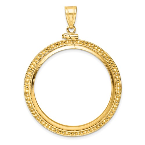 14kt Yellow Gold Beaded Screw Top Bezel for 1 oz American Eagle Coin