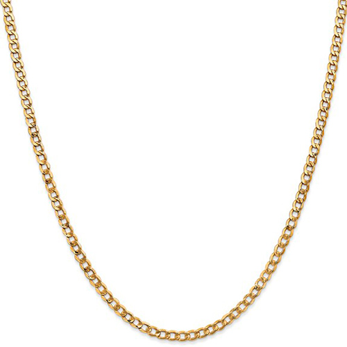 14kt Yellow Gold 18in Hollow Curb Link Chain 3.3mm