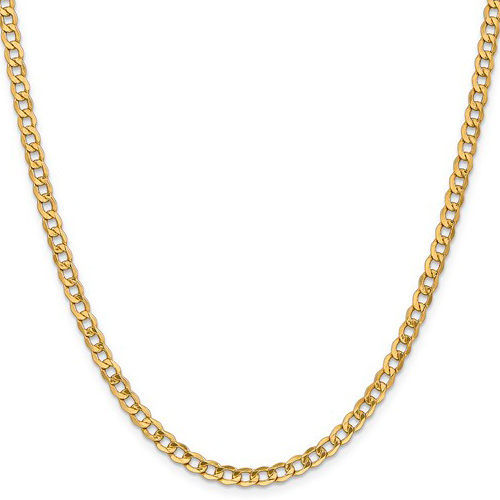 14kt Yellow Gold 20in Hollow Curb Link Chain 4.3mm