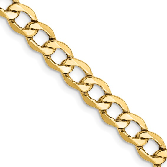 14kt Yellow Gold 24in Hollow Curb Link Chain 5.2mm