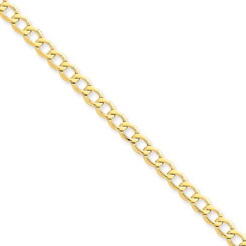14kt Yellow Gold 18in Hollow Curb Link Chain 5.2mm