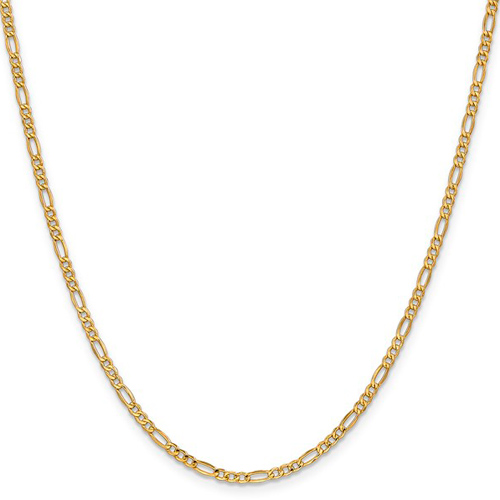 14kt Yellow Gold 16in Hollow Figaro Chain 2.5mm