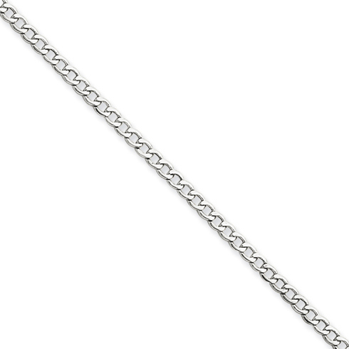 14kt White Gold 20in Hollow Curb Link Chain 2.5mm