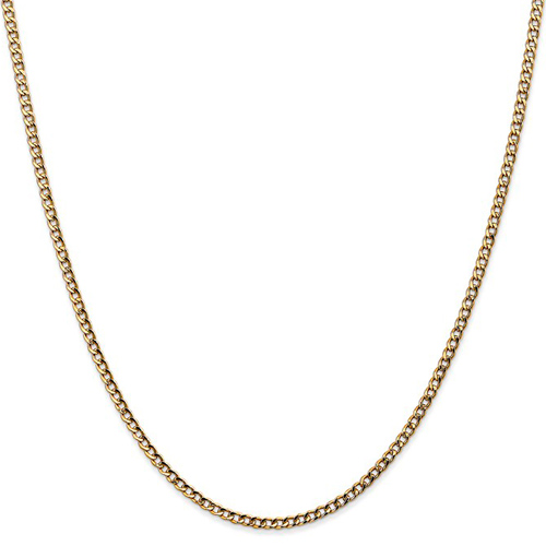 14kt Yellow Gold 18in Hollow Curb Link Chain 2.5mm