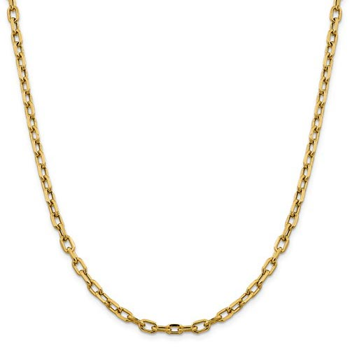 14k Yellow Gold 18in Diamond-cut Open Link Cable Chain 4.9mm