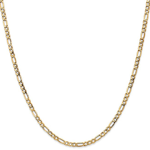 14kt Yellow Gold 24in Hollow Figaro Chain 3.5mm