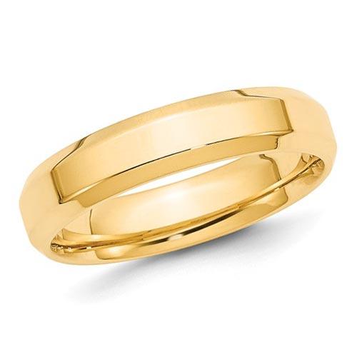 14k Yellow Gold 5mm Bevel Edge Comfort Fit Wedding Band
